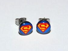 Pair of Superman Logo Button Ear ring Studs. 10mm. UK