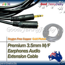 3M Gold Plated 3.5mm M/F Earphones Audio Extension Cable Lead Cord