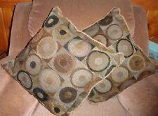 Pair Brown Circles Geometric Design Throw Toss Pillow Square Cushion Decor