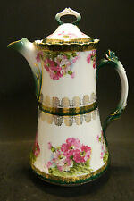 "Antique Embossed Hand Painted Chocolate Pot Austria 10.13"" x 5.25"" Excellent"