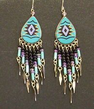 Southwest Design Dangle Earrings Teardrop Shape With Beads Turquoise and Black