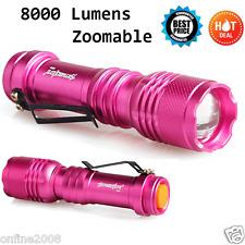 8000LM Q5 Aa/ 14500 3 Modos con Zoom Linterna Flash Led Súper Brillante Morado
