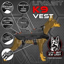 K9 Service Police Dog Black LIVABIT Tactical Molle Vest Harness X-Small