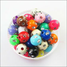 150Pcs Mixed Acrylic Plastic Round Ball With Crystal Spacer Beads Charms DIY 6mm