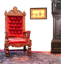 Giant Winged Angel Throne Arm Chair with Red Velvet Fabric King Queen