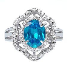 2.20 Carat Real 14KT White Gold Natural Blue Topaz EGL Certified Diamond Ring