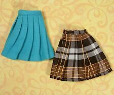 Vintage Barbie Clothes Handmade Skirt Green Wool Pleated Plaid 1960s EXLNT