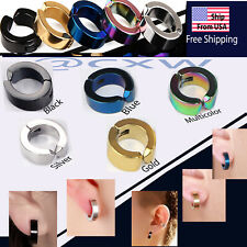 Ear Stud Cuff Hoop Earrings Titanium Stainless Non-Piercing Clip On US seller