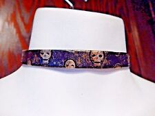 BRONZE & BLACK SKULL PRINT TOOLED CHOKER veggie leather faux necklace band S6