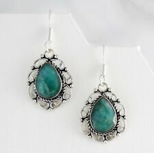 GREEN EMERALD EARRINGS FACETED, SILVER, HEALING CRYSTALS, Patience & Inspiration