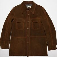 Vintage William Barry Flap Pocket Suede Leather Jacket Chore Barn Coat Snaps M