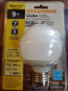 Sylvania Globe Compact Fluorescent 9w 40w/replacement  7 Year  Indoor Outdoor
