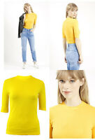 NEW TOPSHOP YELLOW RIBBED CREW NECK 3/4 SLEEVE TOP STRETCH SIZE 8 10 12 14 16