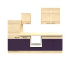 Küchenzeile ohne Geräte Einbauküche ohne Elektrogeräte Küche 270 cm aubergine