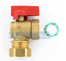 """Universal Angled 90 Degree Isolation Valve 22mm x 3/4"""" For Boilers (RED)"""
