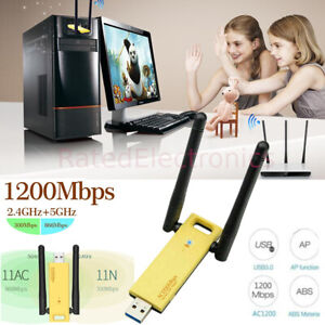 Double Antennas USB 3.0 Long Range 1200Mbps Dual Band 2.4/5GHZ WiFi Adapter USA