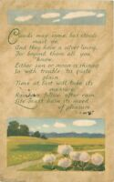 1916 Arts Crafts Saying Clouds Rainbow Flowers postcard 1361