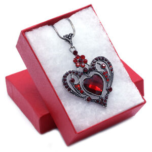 Mom Mothers day gifts Valentine's Day Red Heart Charm Pendant Necklace Jewelry