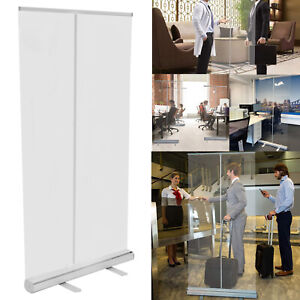 Clear Plastic Screen Sneeze Guard Protection Partition  Roller Banner 80x200cm