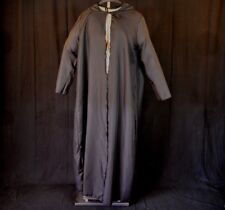 Adult Split Front HOODED Black ROBE Halloween Medieval Witch Cosplay Costume