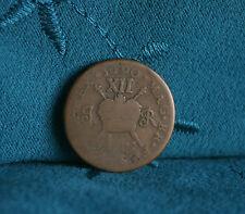 Ireland Shilling 1690 Brass World Coin Eire RARE Hibernia Irish Gun Money
