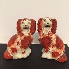 """Antique Staffordshire Figure Pair 6.5"""" Red/White Spaniel Dogs c.1855"""