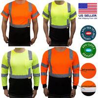 Class 3 Hi-Vis Safty Reflective Construction Shirt with Moisture Wicking Mesh