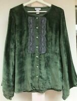 New Soft Surroundings Luxury Green Velvet Beaded Top Blouse women's S Small $79