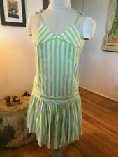 Vintage United Colors of Benetton Summer Dress Striped Green White Beach Small
