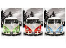 """VW Combi Van Camper Retro Pop A2 CANVAS PRINT Art 18""""X 24"""""""