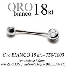 Piercing ombelico belly ORO BIANCO 18kt. CASTONE 5,0  ZIRCONE taglio BRILLANTE