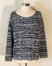 Chico's Loose Knit Sweater Pullover Top Soft Cotton Blend Blue White sz 3 XL