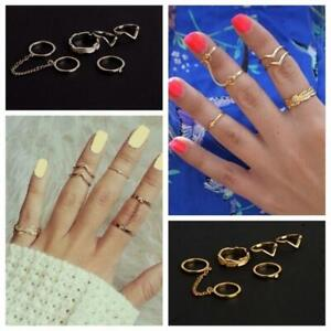 Jewelry Lady Women Stacking Chain Rings Leaf Knuckle Mini Mid Finger Tip