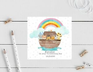 Personalised Ark Birthday Christening Card Daughter, son, niece 1st, 2nd, 3rd