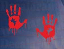 BLOODY HAND PRINTS Funny Zombie Joke Car/Van/Truck/Window/Bumper Stickers