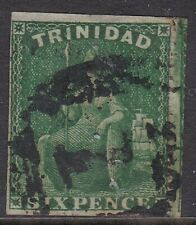 TRINIDAD 1859 6D DEEP GREEN BRITANNIA , PIN-PERF, USED, CAT £75