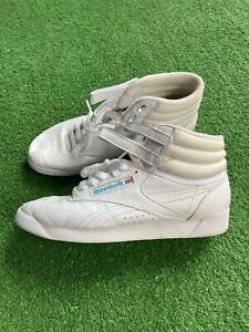 Vintage 1990s Reebok High Top Sneakers Tennis Shoes Womens Size 7 1/2 White Blue