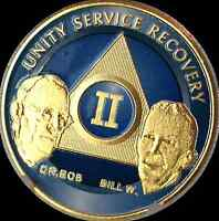AA Founders 2 Year Medallion Sobriety Chip Gold & Ocean Breeze Blue Token Coin