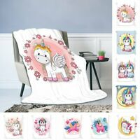 Cute Unicorn Soft Warm Flannel Throw Sofa Bed Blanket Office Rug Quilt Washable