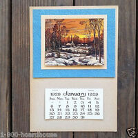 Vintage Original WINTER SCENE GROCERY Promotional Ad Calendar 1920s Full Pad NOS