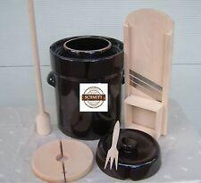 Pot à choucroute en grès pour la lactofermentation 10 litres+Mandoline,Masher