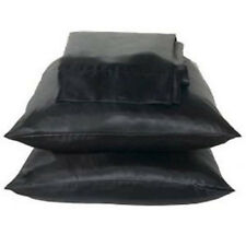 2 Standard / Queen size SATIN Pillow Cases / Covers BLACK Color - Brand New