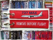 Keyring Boeing 737-MAX Remove Before Flight tag label keychain pilot B737 MAX