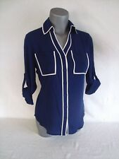 Express Blue with White Piping Original Fit PORTOFINO Women's Shirt NWT Size XL