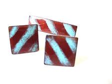 Mid Century Modern Cufflinks Copper Enamel Tie Clip Set Mens Jewelry Vintage