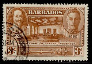BARBADOS GVI SG261, 3d brown, FINE USED.