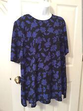 WORTHINGTON Woman's Plus Size 3 XW Black with Cobalt Blue flowers, short sleeved