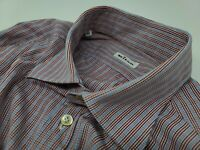 Kiton Long Sleeve Micro Check Plaid Pin Stripe Button-up Shirt Mens Sz 17/43