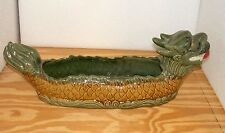 """New 23"""" Asian Oriental Green Dragon with Fire Pearl Bamboo Planter Plant Pot"""