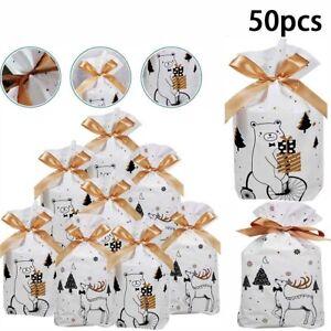 50Pcs Christmas Drawstring Gift Bags Reusable Xmas Sacks Storage Wrap Present